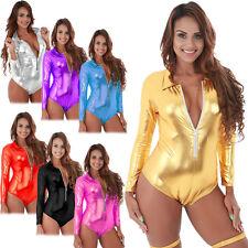 Women Metallic Romper Wet Look Bodysuit Jumpsuit Leotard Clubwear Party Costume