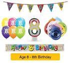 Happy 8th Birthday AGE 8 Party Balloons Banners Badges & Decorations Helium (1C)