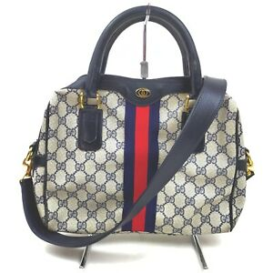 Gucci Hand Bag  Navy Blue PVC 632889