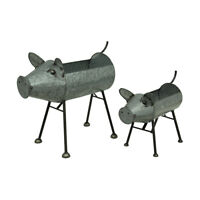 Zeckos Galvanized Metal Set of 2 Indoor/Outdoor Pig Planter Sculptures