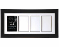4 Opening Glass Face 8x18 Black Picture Frame Holds 4x6 Media White Collage Mat