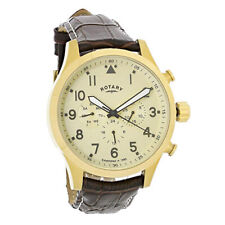 Rotary Gold PVD Case Brown Leather Strap Mens Watch GS00419/31
