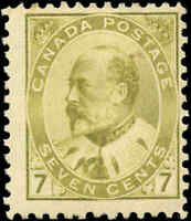 1903 Mint Canada F+ Scott #92 7c King Edward VII Issue Stamp Hinged