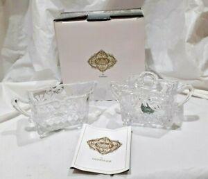 Godinger Irish Shannon Crystal Sugar Bowl and Creamer Set Baroque Design