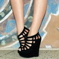 Plus Size Women Platform Sandals Open Toe Wedges Heels Sexy Black Shoes clubwear