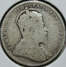 1909 Canada Quarter .925 Silver Coin King Edward VII KM#11a Last Year Issue E