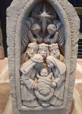 Vintage Nativity scene concrete mold casting plaque