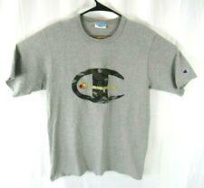Champion T-Shirt Unisex Adult Large Short Sleeve Camo Logo Gray