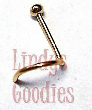 1 x GOLD Plated Nose Bone Stud Pin Ring Screw Small Petite BALL 2.5mm - 20g*