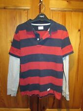 Boys Blue/Red/Grey Long Sleeve Polo Shirt Gap 10-11yrs