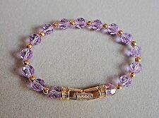 Signed Swarovski Lavender Crystal Bead Bracelet Gold Tone & Rhinestone Clasp