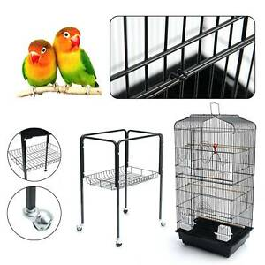 150cm Large Bird Cage with Perch Stand Wheels Rolling Parrot Cage Finch Budgie