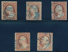 #26A (5) DIFFERENT USED WITH BLUE CANCELS CV $762.50 BQ9473