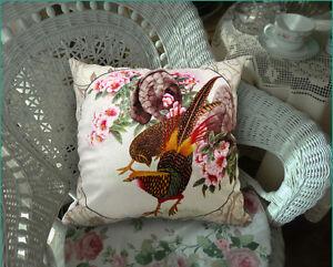 Design Cushion & Elegant Floral Velvet Pillow Cover Flower Pheasant Double Sides