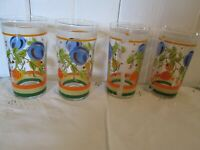 "4 MCM Fruit Striped Tumblers Glass Orange Green Blue Clear 2 3/4"" x 5 1/4"" Libby"