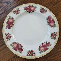 Farberware Sydney Roses 4092 Salad Plates Set of 4 Pink Flower Tan Scroll Edge