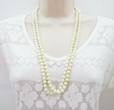 Long Glass Pearl Necklace Rope Bridal Wedding 8 mm Beads Look and Feel Genuine!