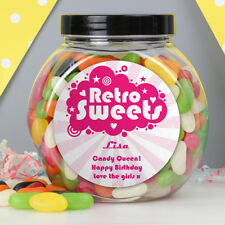 Personalised Retro Jelly Beans Sweets Gift Jar Birthday Gift Birthday Sweet 500g