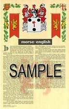MORSE Armorial Name History - Coat of Arms - Family Crest GIFT! 11x17