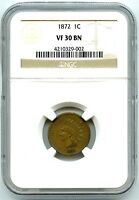 1872 Indian Head Cent, NGC VF-30 BN, Problem Free Coin, Attractive Key Date!