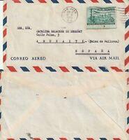 US 1955 COMMERCIAL FLOWN COVER SAN JUAN PUERTO RICO TO ANDRAITX MALLORCA