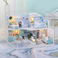 3D fai da te in miniatura casa delle bambole Creative Crush Blue Furniture Kit