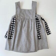 Zara Girls 3-4 Years Grey Check Bow Pinafore Dress