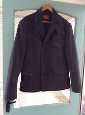Firetrap Mens Grey /Black Wool Herringbone Military  Jacket Size L