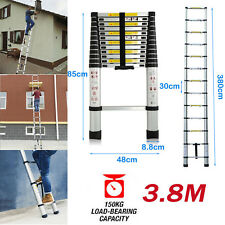 High Quality Multi-Purpose Aluminium Extendable 3.8M Telescopic Ladder Steps +