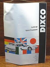 Dixco Tune Up Specifications For Fiat, Jaguar, Porsche, Volvo & More Manual!