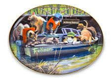 Catfish Creek Oval Plate Franklin Mint Cats Fishing Kitten Fish Fine Porcelain