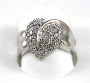 Natural Round Diamond Heart Leaf Pave Cluster Lady's Ring 18k White Gold 1.02Ct