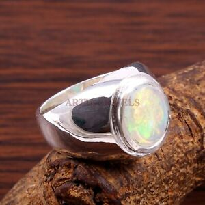 Natural Opal Gemstone with 925 Sterling Silver Ring for Men's #1337