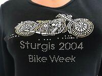 Womens HARLEY BIKER STURGIS vintage 2004 T shirt Bling Beads Black Silver M L