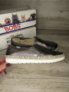 Skechers Bobs Women's Pewter Flexpadrille 3.0 Loafers Shoes 9.5 M ~ 33322