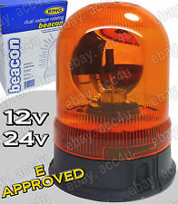 Ring Professional Dual Voltage 12v/24v Rotating Amber Safety Beacon Light + Bulb