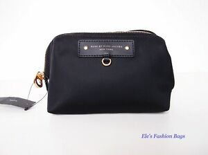 NWT Marc by Marc Jacobs Original Preppy Nylon Cosmetic Case BLACK Gold AUTHENTIC