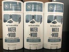 Schmidt's Deodorant Water + Wood Natural  NEW 3 pack 3.25OZ