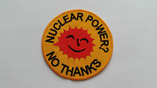 ANTI-WAR CND HIPPIE PEACE SEW ON / IRON ON PATCH:- NUCLEAR POWER? NO THANKS
