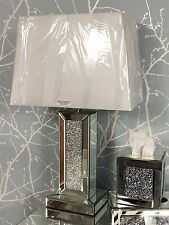 """Sparkly Silver Mirror Diamond Glitz Crushed Glass Crystal 17"""" Table Lamp"""