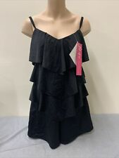 NWT Fit 4 U Sz 12 Swimsuit Hi-Neck Double Tiered Romper Black A273952 FS Charity