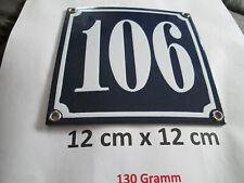 Hausnummer Nr. 106 weisse Zahl auf blauem Hintergrund 12 cm x 12 cm Emaille Neu