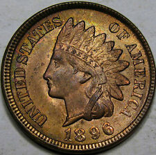 1896 Indian Head Cent Gem BU MS++ RB! 100% Original, & Mostly Red! So Very NICE!