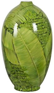 X Large Handpainted/made Green VaseTropical Leaves(on Sale less than half price)