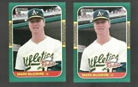 (2) count Lot of 1987 DONRUSS The Rookies MARK MCGWIRE Rookie (RC) Card