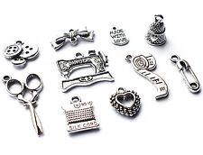 10 x mixtes couture dressmaker Silver Charm Pendentifs, machine / ciseaux / cartouche / bow