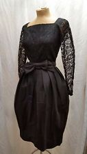 Vintage 1950's Black Acetate & Lace Cocktail Party Dress Size Small 32 Bust