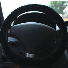 Faux Sheepskin Plush Stretch On Vehicle Car Steering Wheel Cover Black Useful