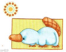 "4"" Martex Down Under Australia Animal Platypus Circle Fabric Applique Iron On"