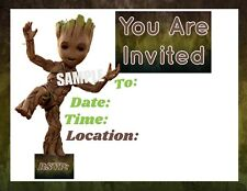 Groot Guardians Party Invitations with matching envelopes, Birthday, 12pack